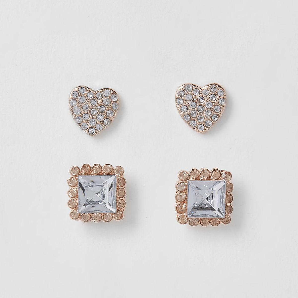 Girls rose gold tone heart earrings multipack