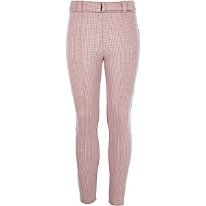 Girls pink dogtooth check leggings