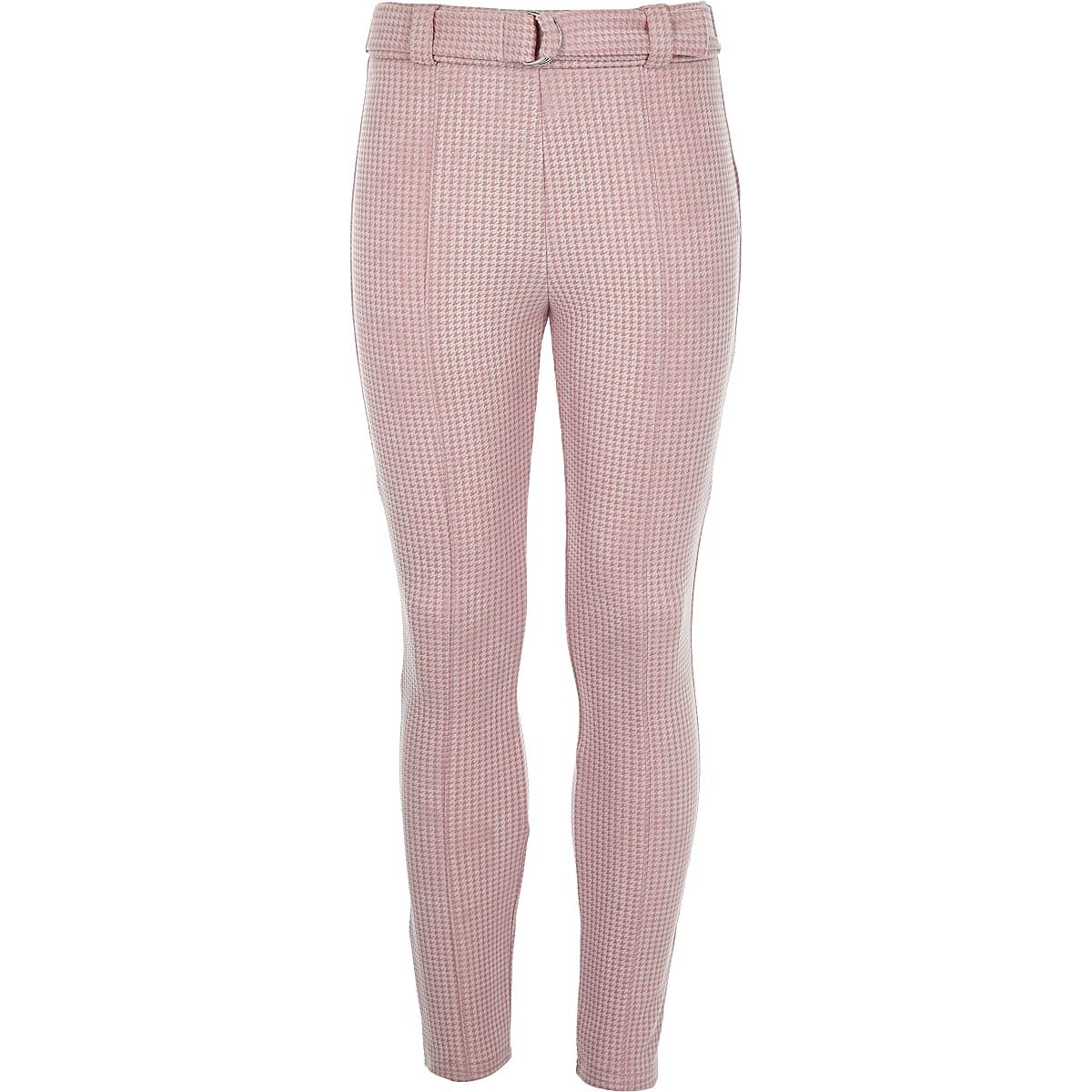 Girls pink houndstooth check leggings