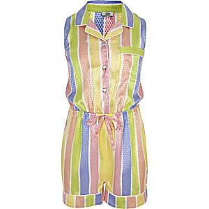 Gelber, gestreifter Pyjama-Playsuit