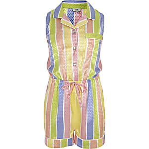 Girls yellow stripe pajama romper