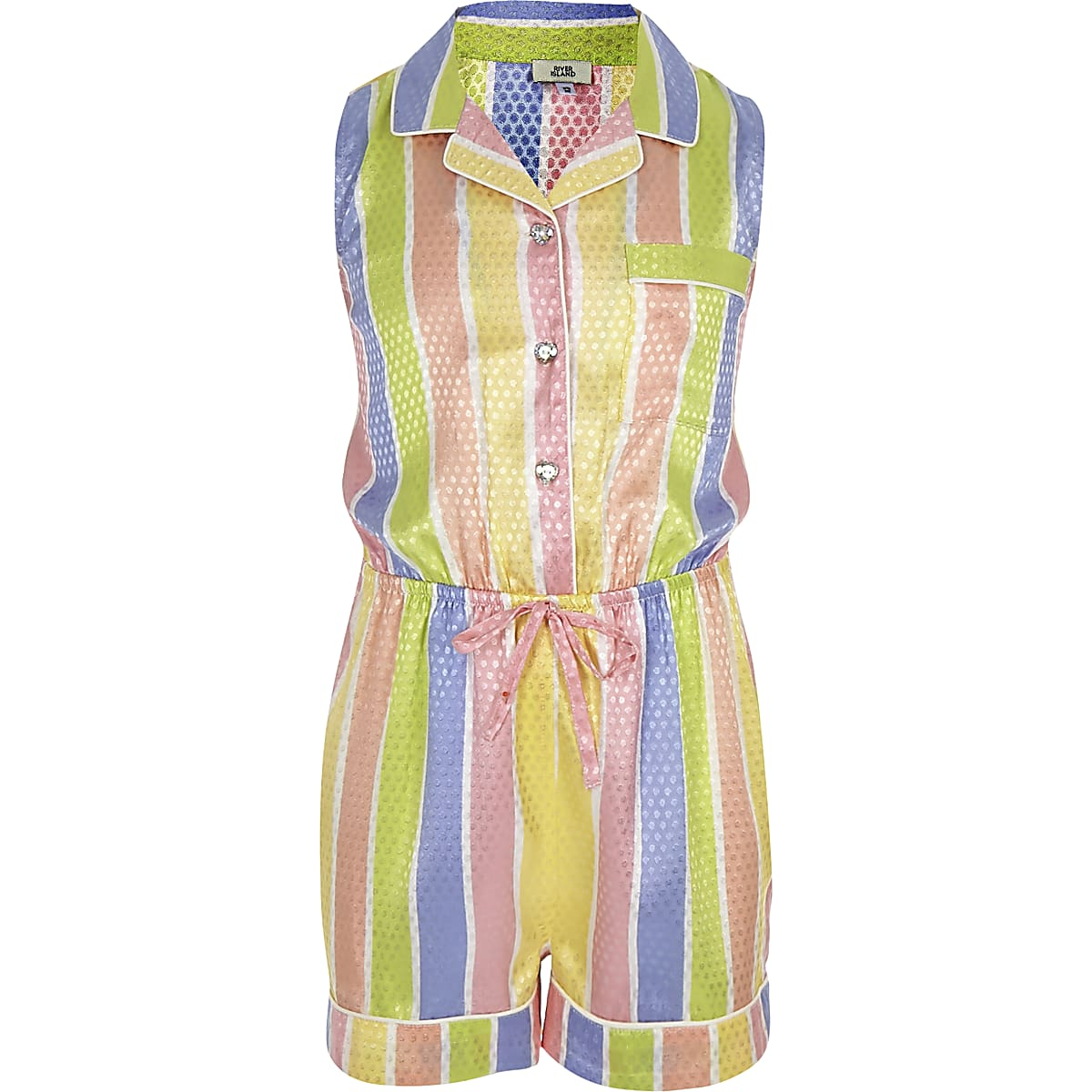 Girls yellow stripe pyjama playsuit
