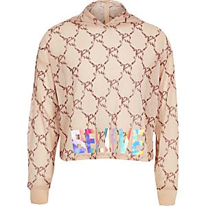RI Active - Roze hoodie met strik en print voor meisjes