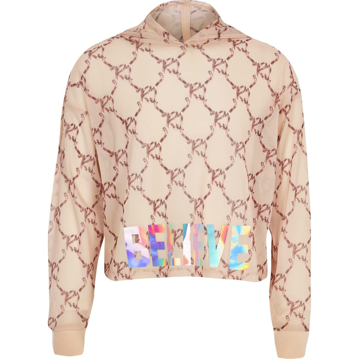 Girls RI Active pink bow print hoodie