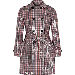 Girls pink check vinyl trench coat