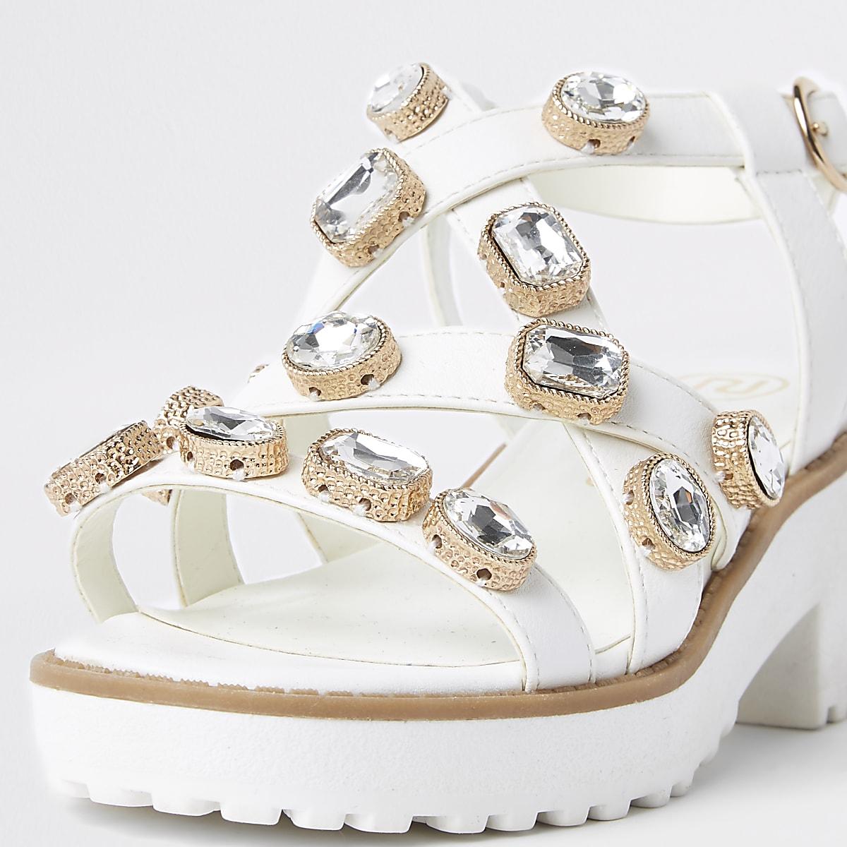 711873430476 Girls white embellished chunky sandals - Sandals - Footwear - girls