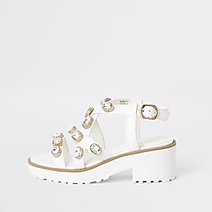 Witte verfraaide stevige sandalen voor meisjes