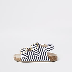 Mini - Marineblauwe gestreepte sandalen met kurk voor meisjes