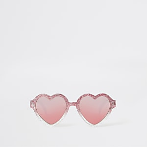 60431be26cc89 Mini girls pink glitter heart sunglasses