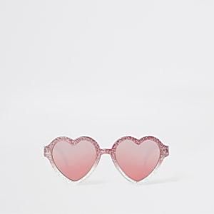 Lunettes de soleil cœurs roses à paillettes pour mini fille