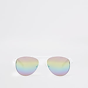 Girls white aviator rainbow lens sunglasses