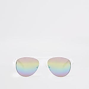 Lunettes de soleil aviateur blanches à verres arc-en-ciel pour fille