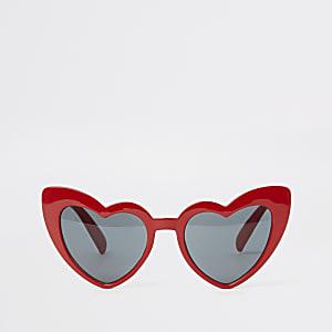 Rode cat-eye-zonnebril met hartjes voor meisjes