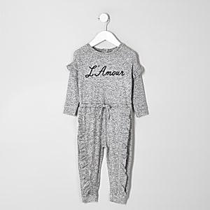 Mini - Grijze onesie met 'L'amour'-print voor meisjes