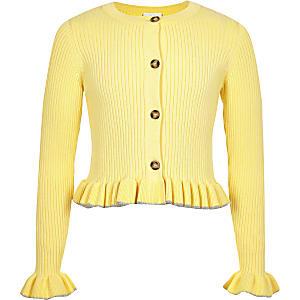 Gelbe, gerippte Strickjacke mit Rüschensaum