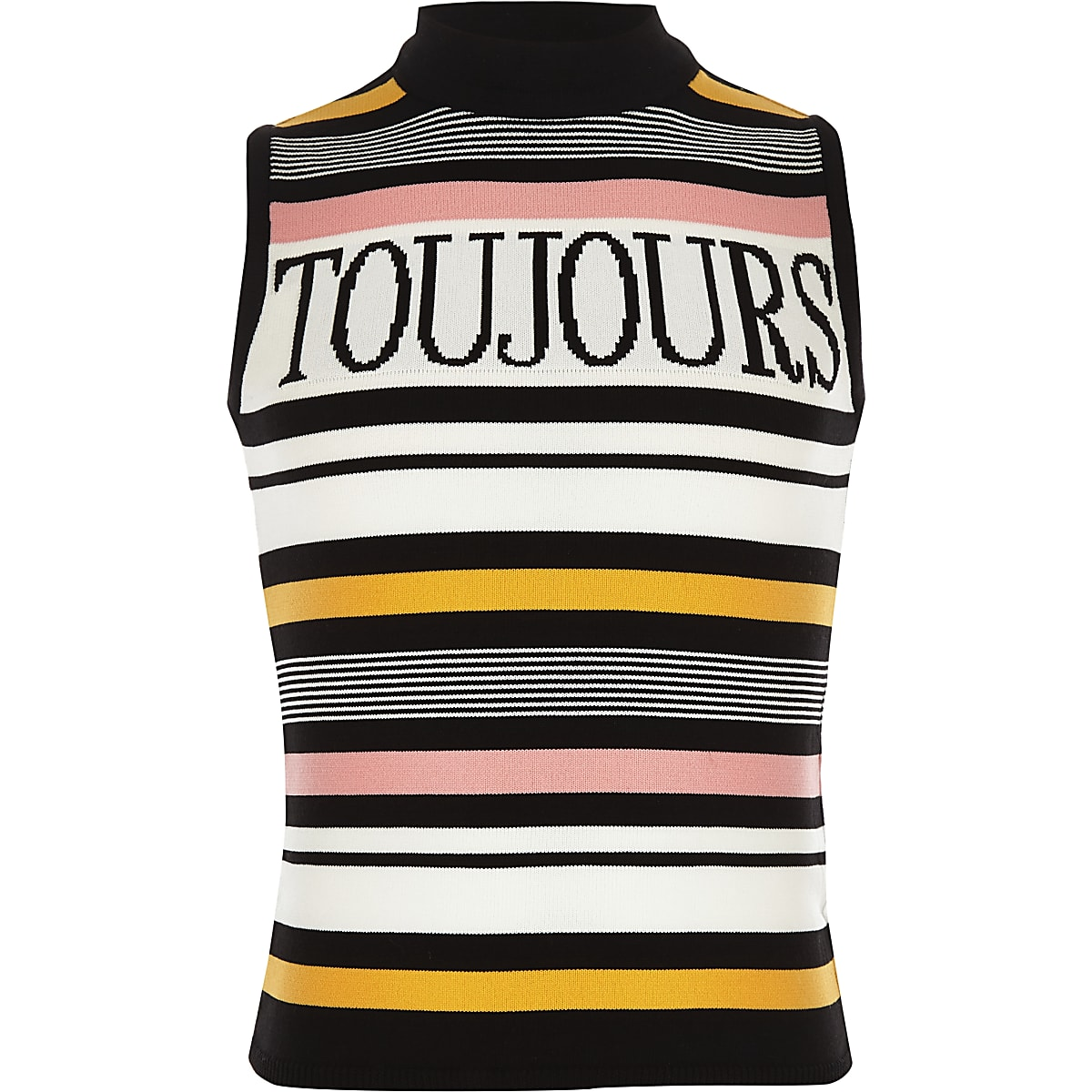 Girls black 'Toujours' stripe tank top