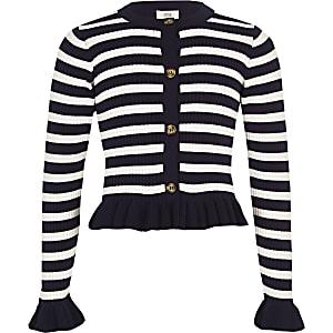 Girls navy stripe frill cardigan