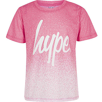 Girls pink Hype speckle fade T-shirt