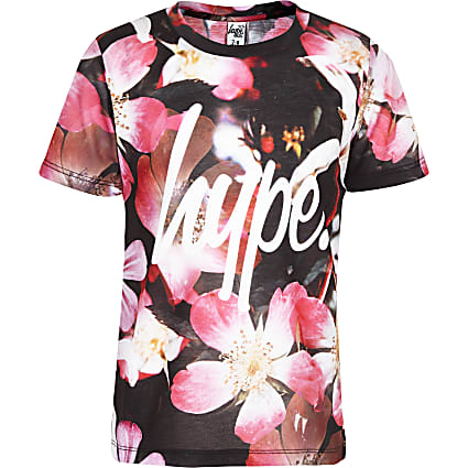 Girls pink Hype flower T-shirt