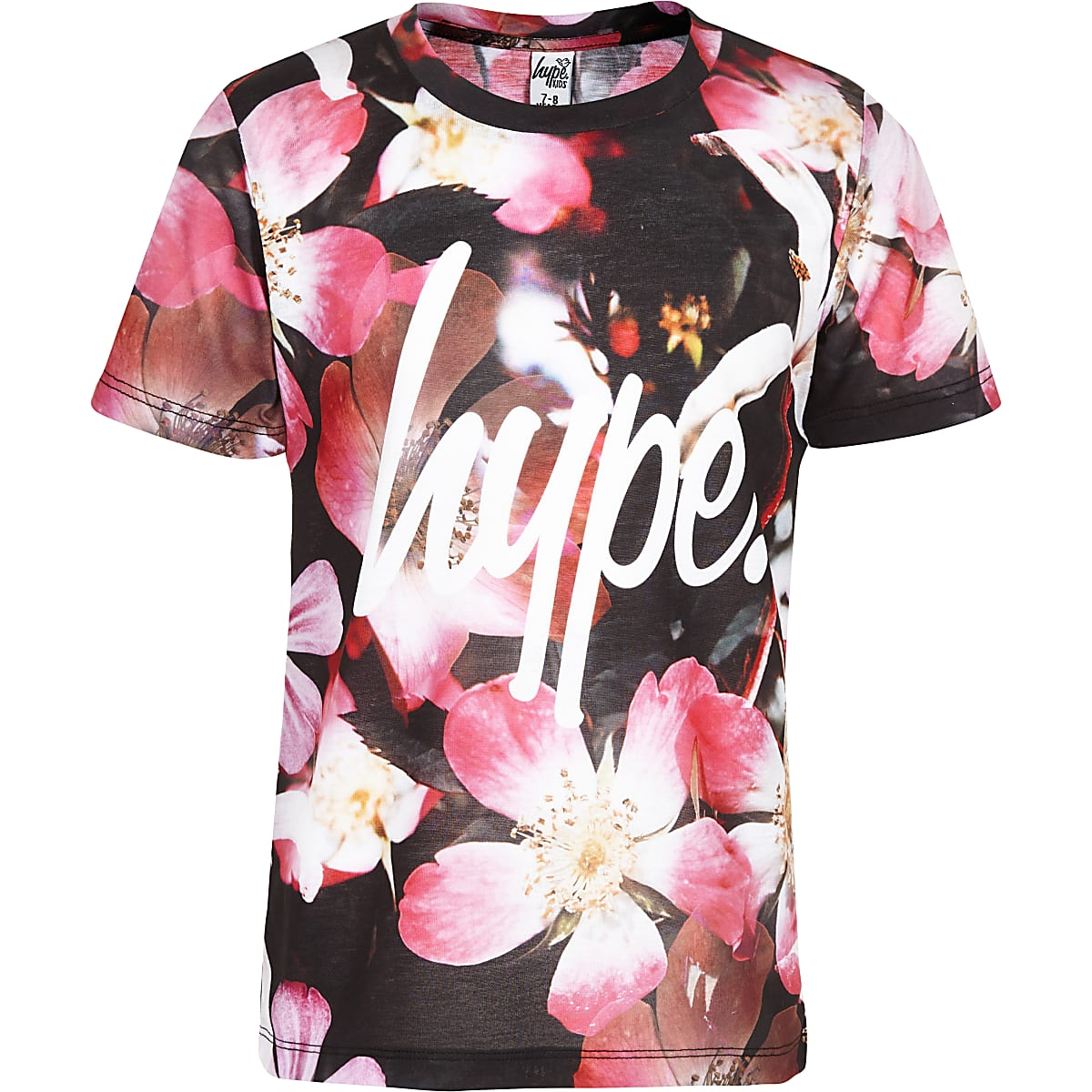 Girls pink Hype flower T-shirt