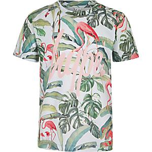 Hype – Grünes T-Shirt mit Flamingoprint