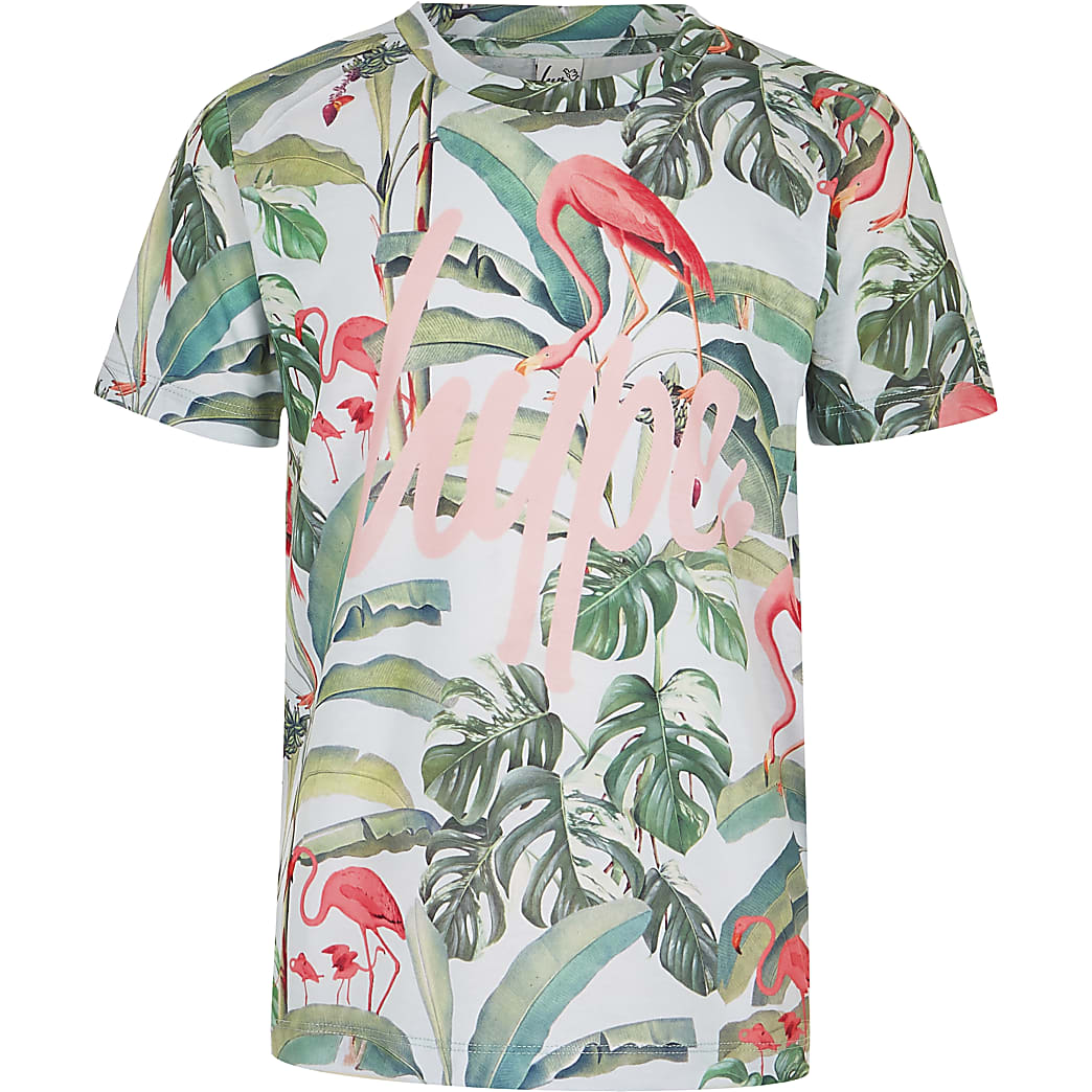 Girls green Hype flamingo print T-shirt