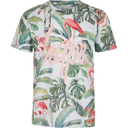 Girls green Hype flamingo print T-shirt
