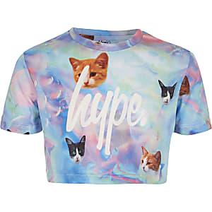 Girls blue Hype cat print crop T-shirt