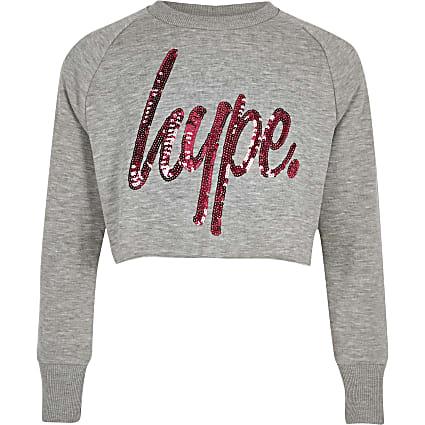 Girls grey Hype sequin crop sweatshirt