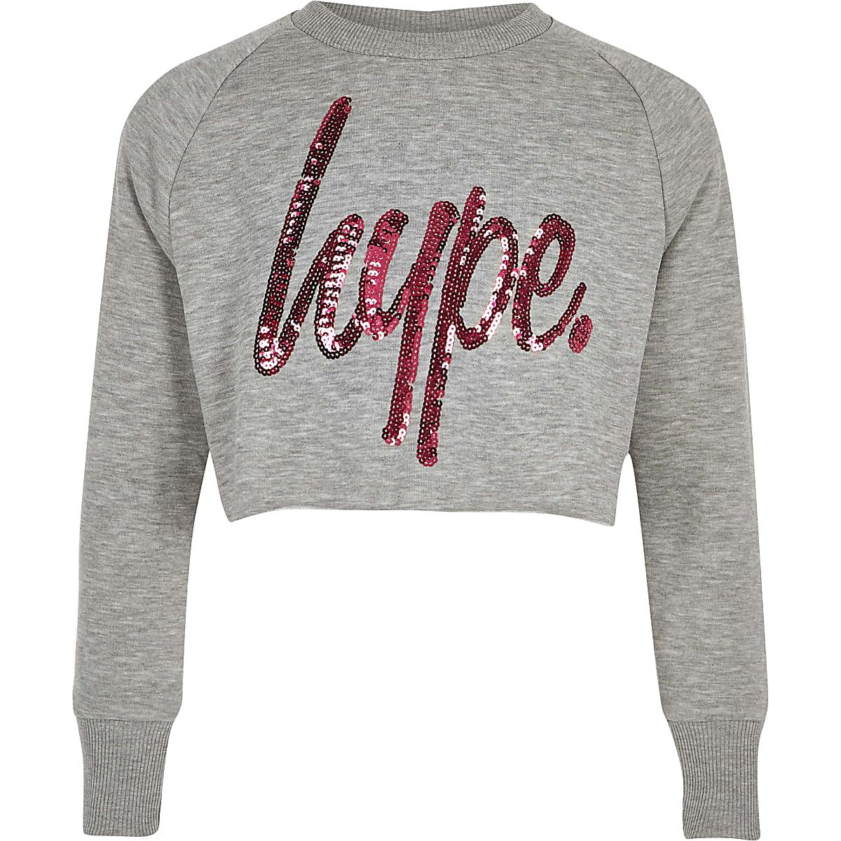 Hype - Grijs kort T-shirt met lovertjes voor meisjes