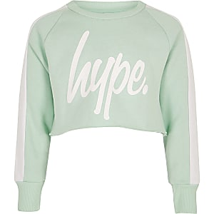 Girls green Hype logo crop sweatshirt