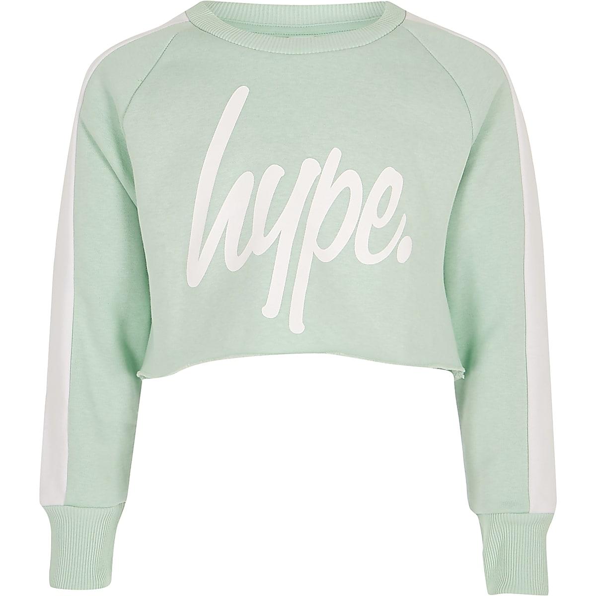Girls green Hype logo crop sweatshirt