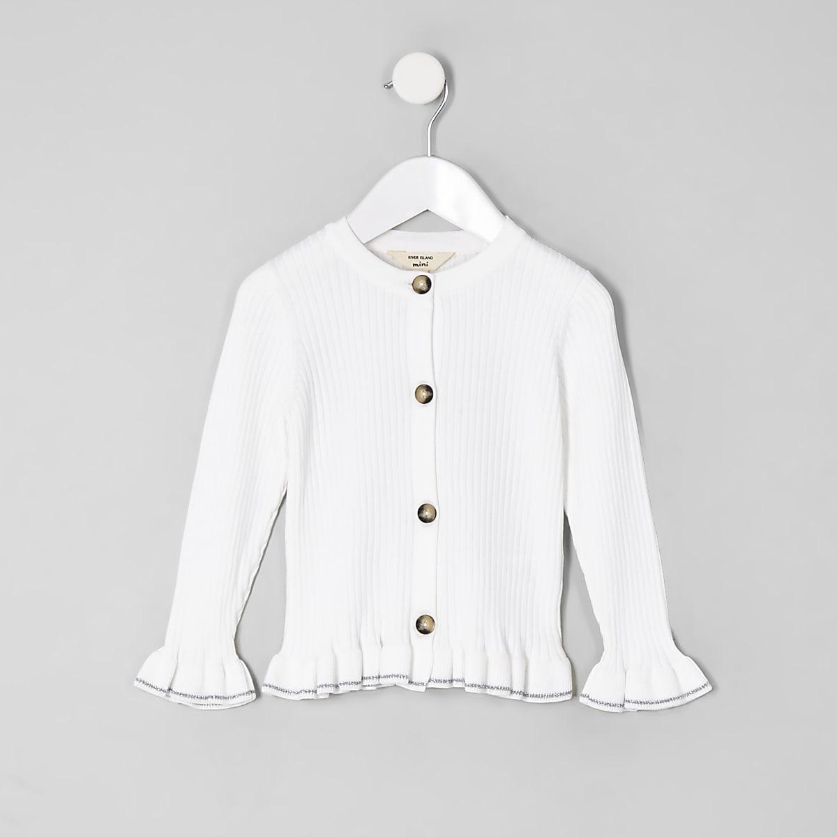 1a963afc4c5c69 Mini girls cream ribbed frill hem cardigan - Baby Girls Tops - Mini ...