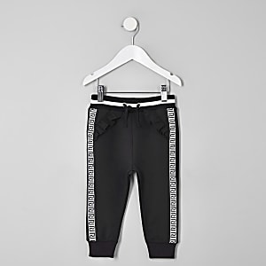 Mini girls black RI tape joggers