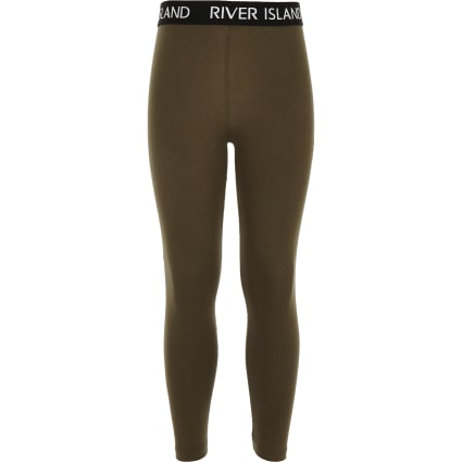 Girls khaki RI waistband leggings