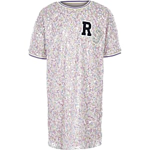 Robe t-shirt « R3 » rose à sequins pour fille