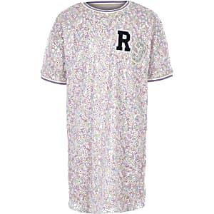 Roze T-shirtjurk met 'R3'-print en pailletten voor meisjes