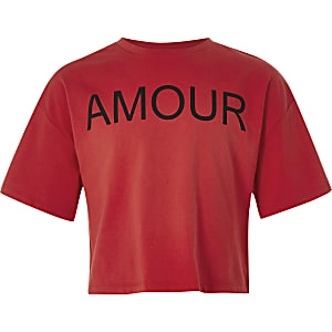 Girls red 'Amour' printed crop top