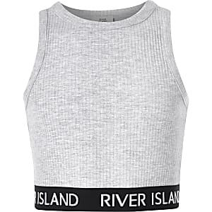 Girls grey crew neck ribbed crop top