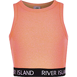 013ef81c2d42d6 Girls coral ribbed crew neck crop top