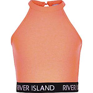 Girls coral ribbed crop top