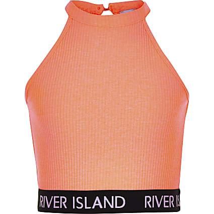 Girls coral ribbed crop top