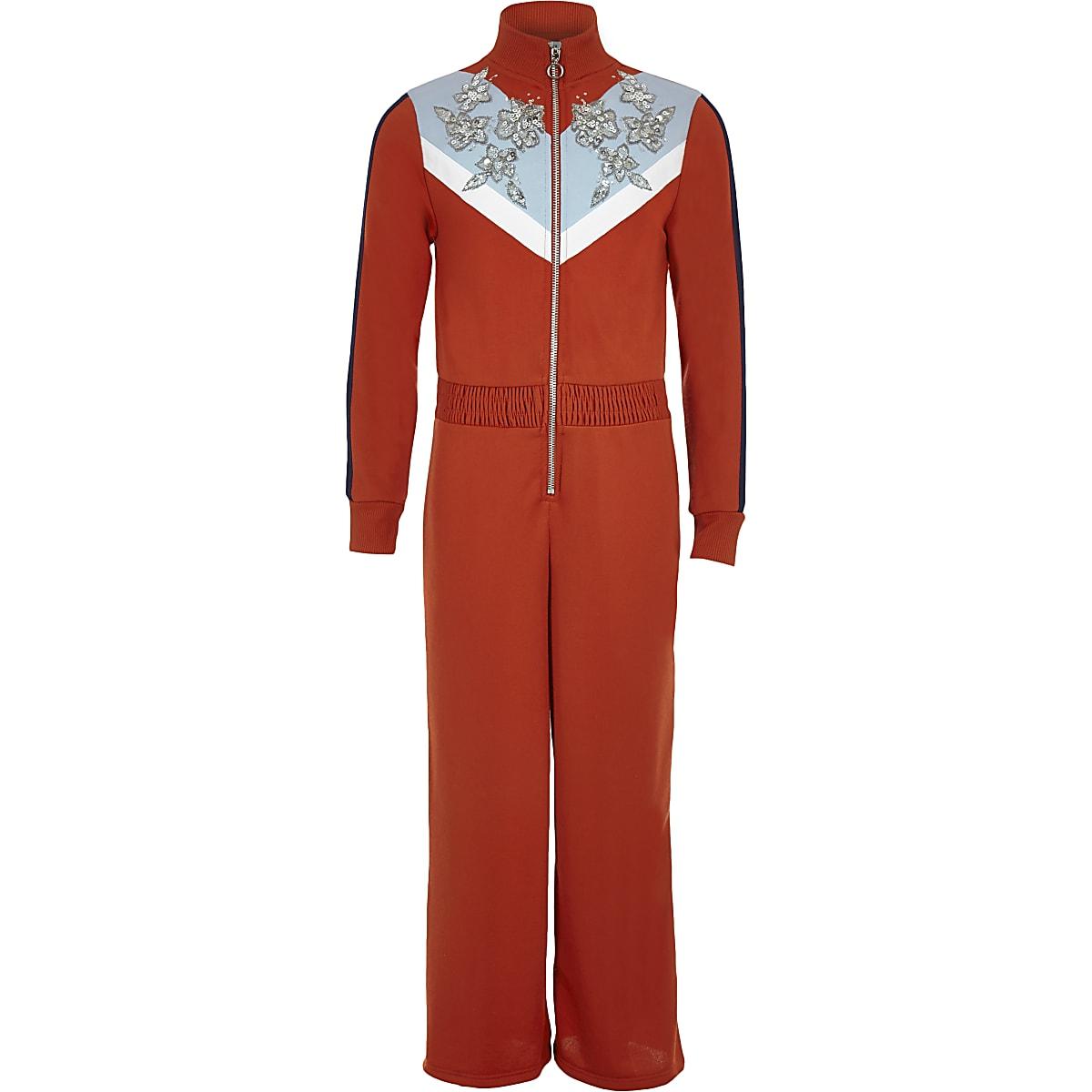 Girls red funnel neck embellished jumpsuit