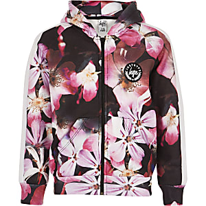 Girls black Hype flower print zip hoodie
