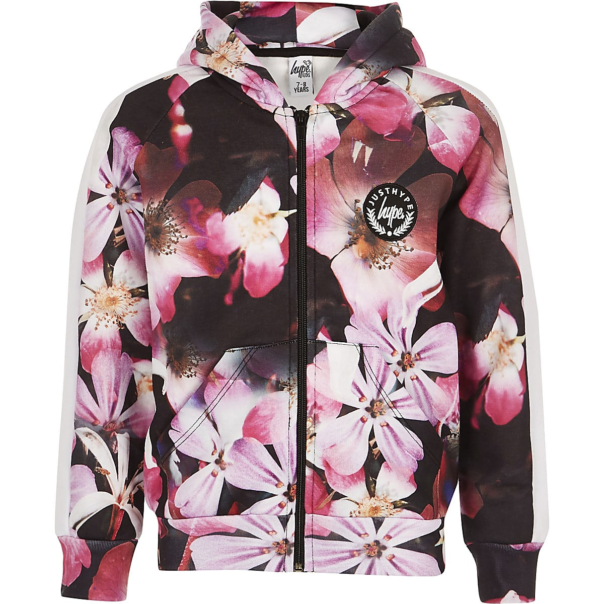 Girls black Hype flower print zip hoodie