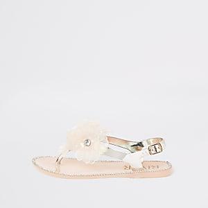 Mini - Goudkleurige versierde sandalen met bloemen voor meisjes