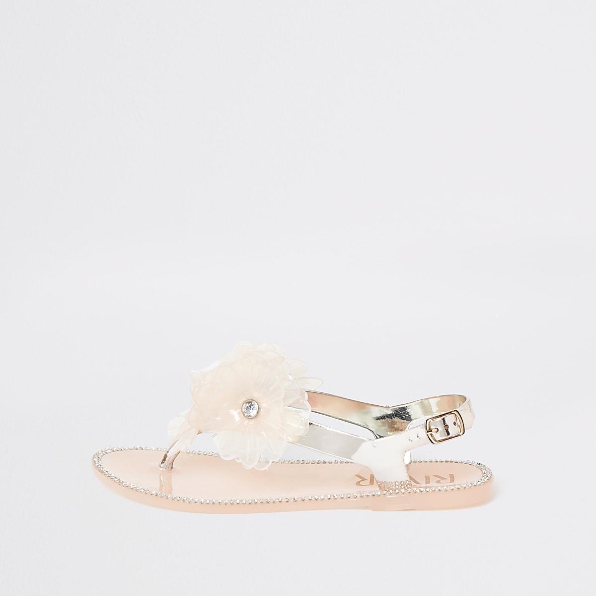 Mini girls gold floral embellished sandals