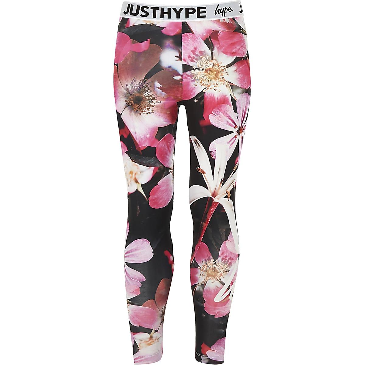 Girls black Hype flower leggings