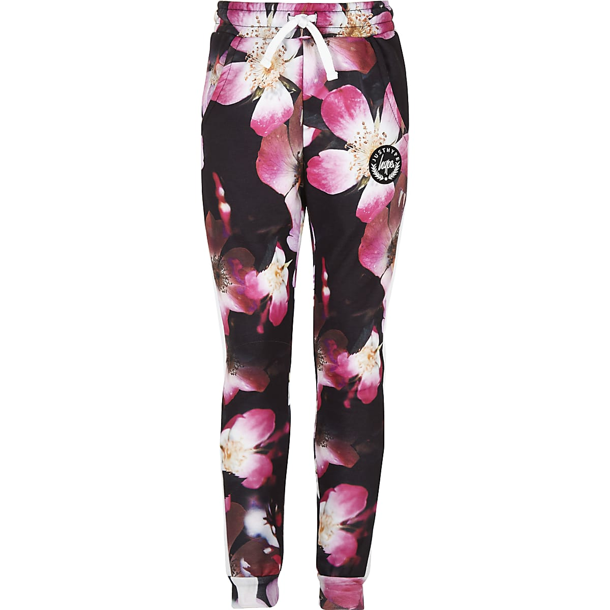 Girls black Hype flower joggers