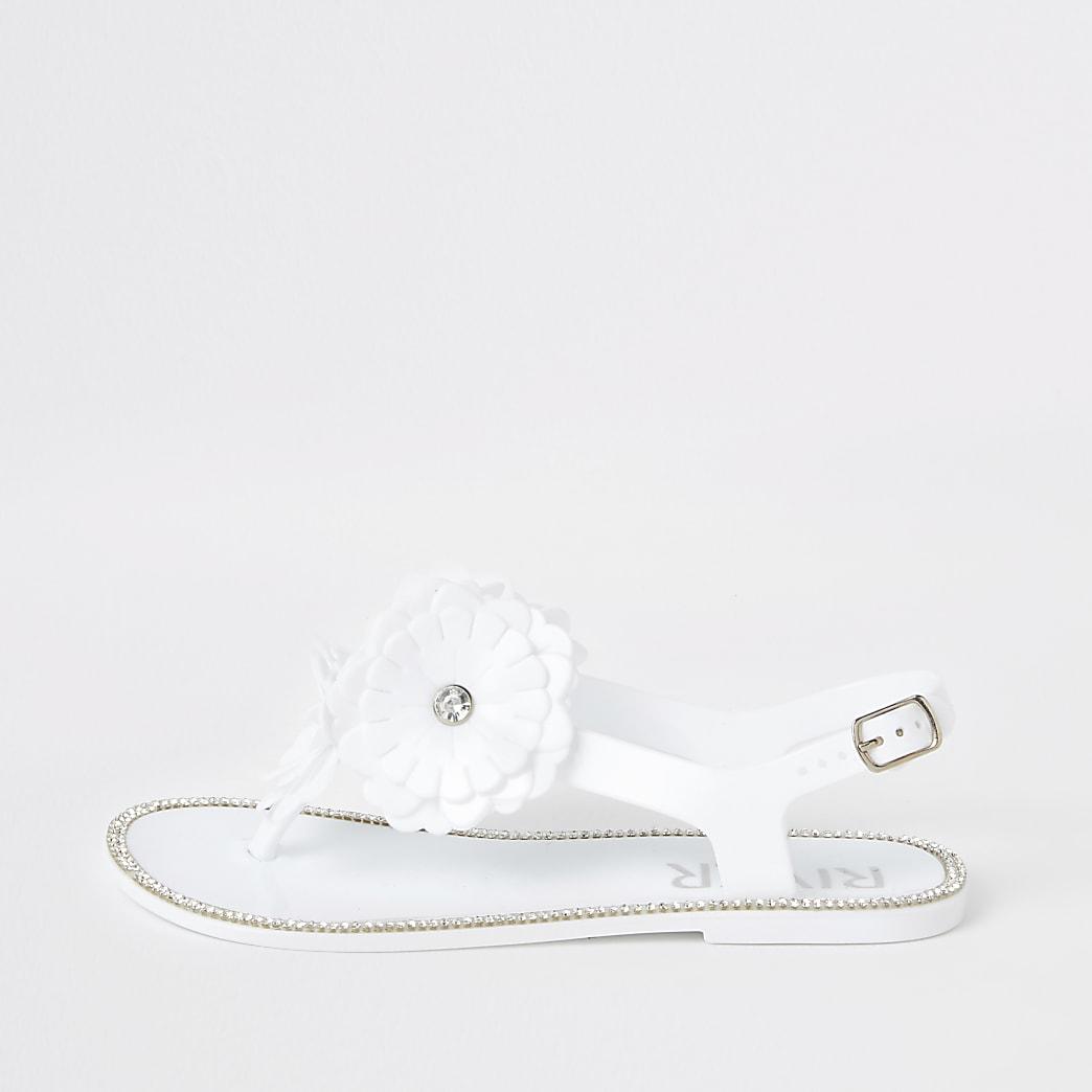 Sandales en plastique blanches avec fleurs pour fille